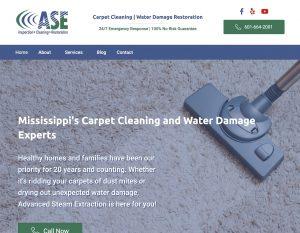 screenshot of ASEnow homepage showing clean carpet hero image