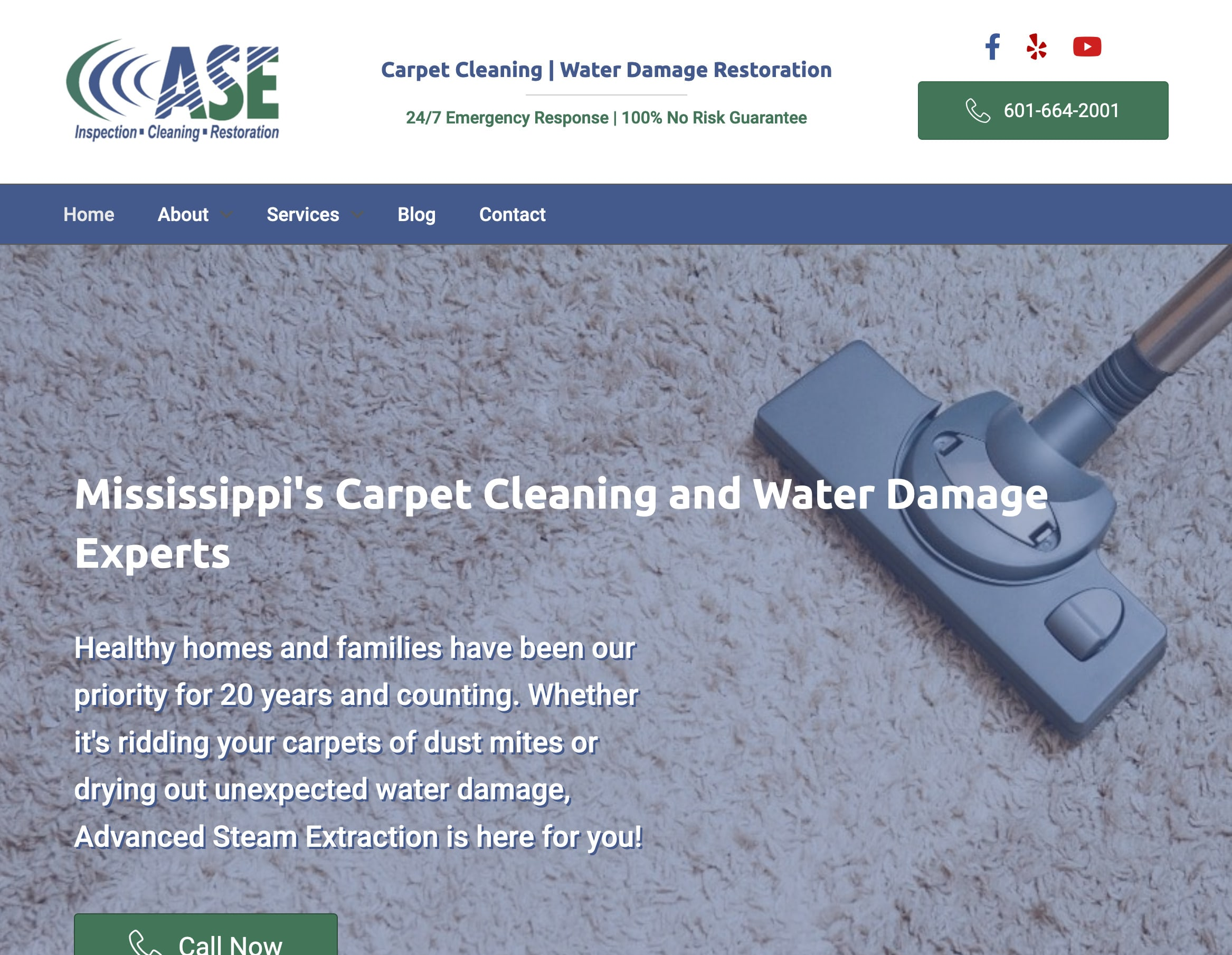 screenshot of ASEnow homepage showing clean carpet hero image